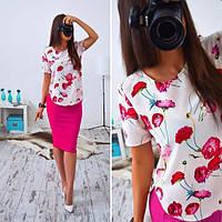 Женский милый костюм: блуза и яркая юбка