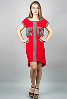Сарафан Алетта (красный) молодежный сарафан однотонный комбинированный с полоской из вискозы, 46-54 размер