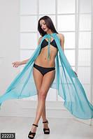 Асимметричная пляжная женская накидка с оголенными плечами и завязкой на горловине шифон