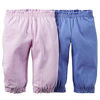 Детские трикотажные штаны для девочки (2 шт)  9, 12, 18 месяцев