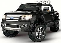 2х местный детский электромобиль FORD RANGER черный лакированный, кожа, 2 мотора, мощный аккумулятор