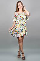 Сарафан Вивьен (лилия) из штапеля с открытыми плечами с воланом 46-52 размер