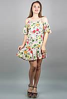 Сарафан Вивьен (цветы) из штапеля с открытыми плечами с воланом 46-52 размер