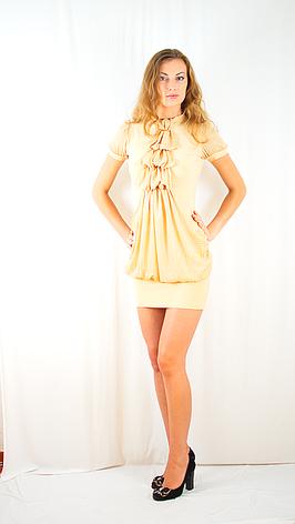 Клубное модное молодежное платье из шифона с оригинальным жабо., фото 2