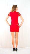 Платье с шифоновим жабо красное с красным шифоном, фото 3