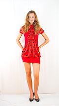 Платье с шифоновим жабо красное с красным шифоном, фото 2