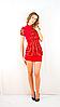 Платье с шифоновим жабо красное с красным шифоном