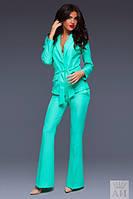 Деловой женский костюм пиджак+брюки-клеш
