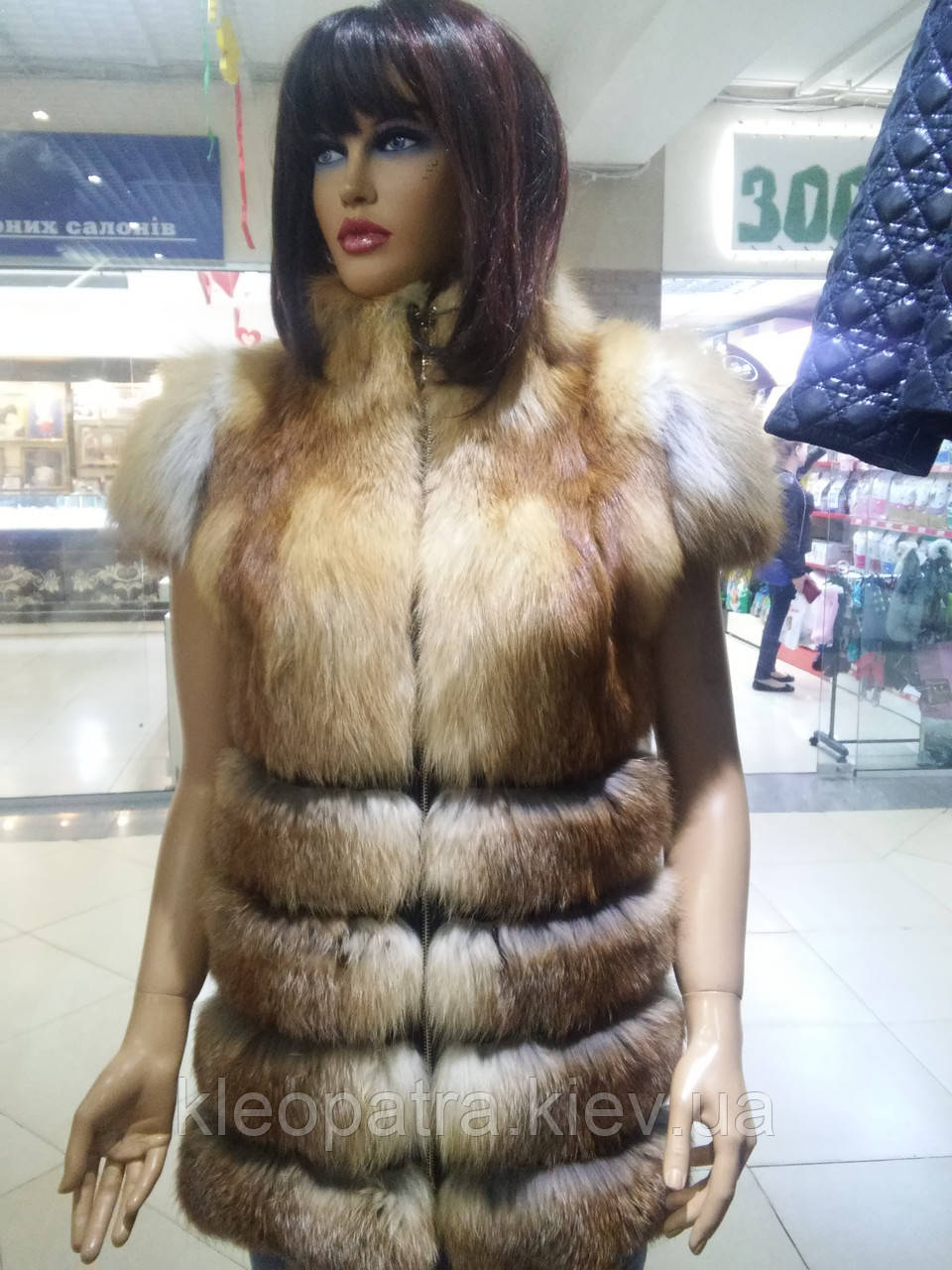 Жилетка из лисы удлиненная с карманами, фото 1