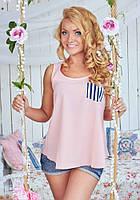 Блуза женская белая с полосатым кармашком