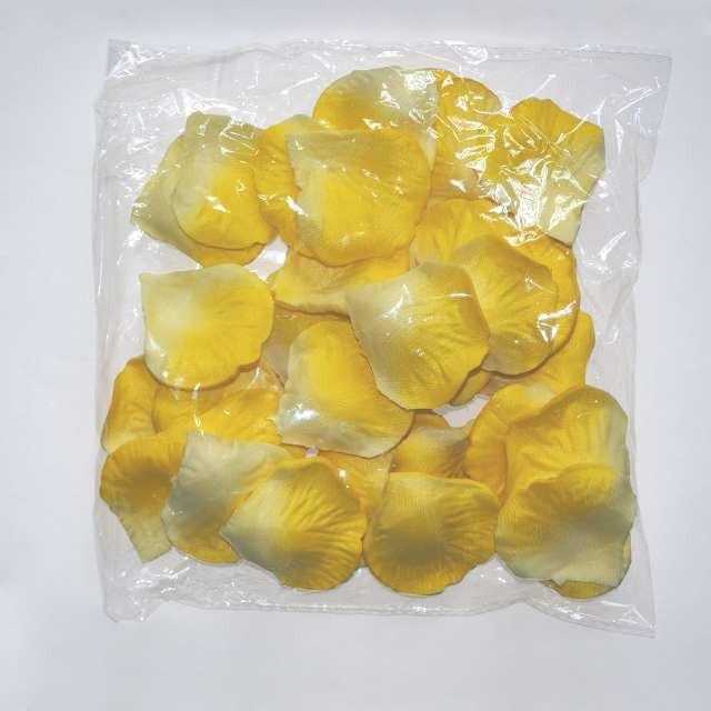 Лепестки роз искусственные (желто-белые) 600 шт