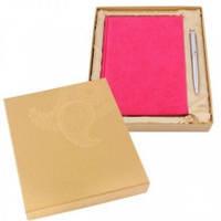 Комплект подарочный, розовый (ежедневник недатированный А5 + подарочная ручка)