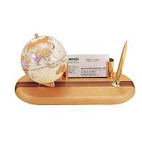 Глобус настольный на деревянной подставке с ручкой и подставкой для визиток