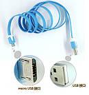 """Соединительный кабель USB """"лапша"""" - micro-USB / iPnone 4 / iPhone 5, фото 3"""