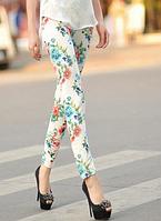 Лосины женские белые с цветами