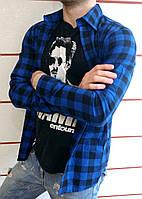 Рубашка мужская в клетку черно-синяя