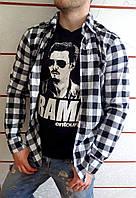 Рубашка мужская в клетку черно-белая