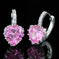 Серьги 3 Carat Pink Heart Sapphire Huggie Earrings SE235