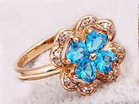 Кольцо Цветок gold filled накат золотом с голубыми цирконами GF837 разм 18