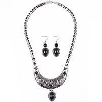 Набор черный агат серьги ожерелье (TL4008)