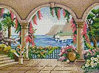 "Colibri mosaic панно Сolibri mosaic ""Райский сад с видом на море"" фреска художественное изделие из мозаики 200x150"