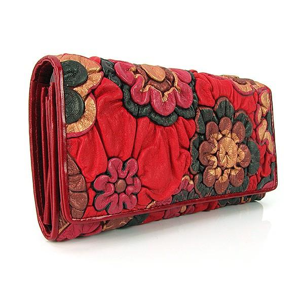 Кошелек кожаный женский красный цветы Erglanu 164