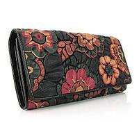Кошелек кожаный женский черный цветы Erglanu 164