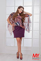 Костюм Стильный БАТАЛ платье футляр с шифоновой накидкой жар птица цвет бордо