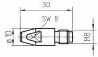 Токовый наконечник М8*30 fi 0,8