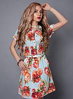 Платье-рубашка из креп шифона,декорировано поясом