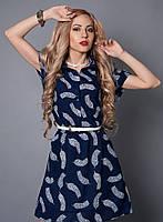 Оригинальное платье с резинкой на талии