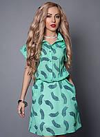 Легкое креп-шифоновое платье с коротким рукавом