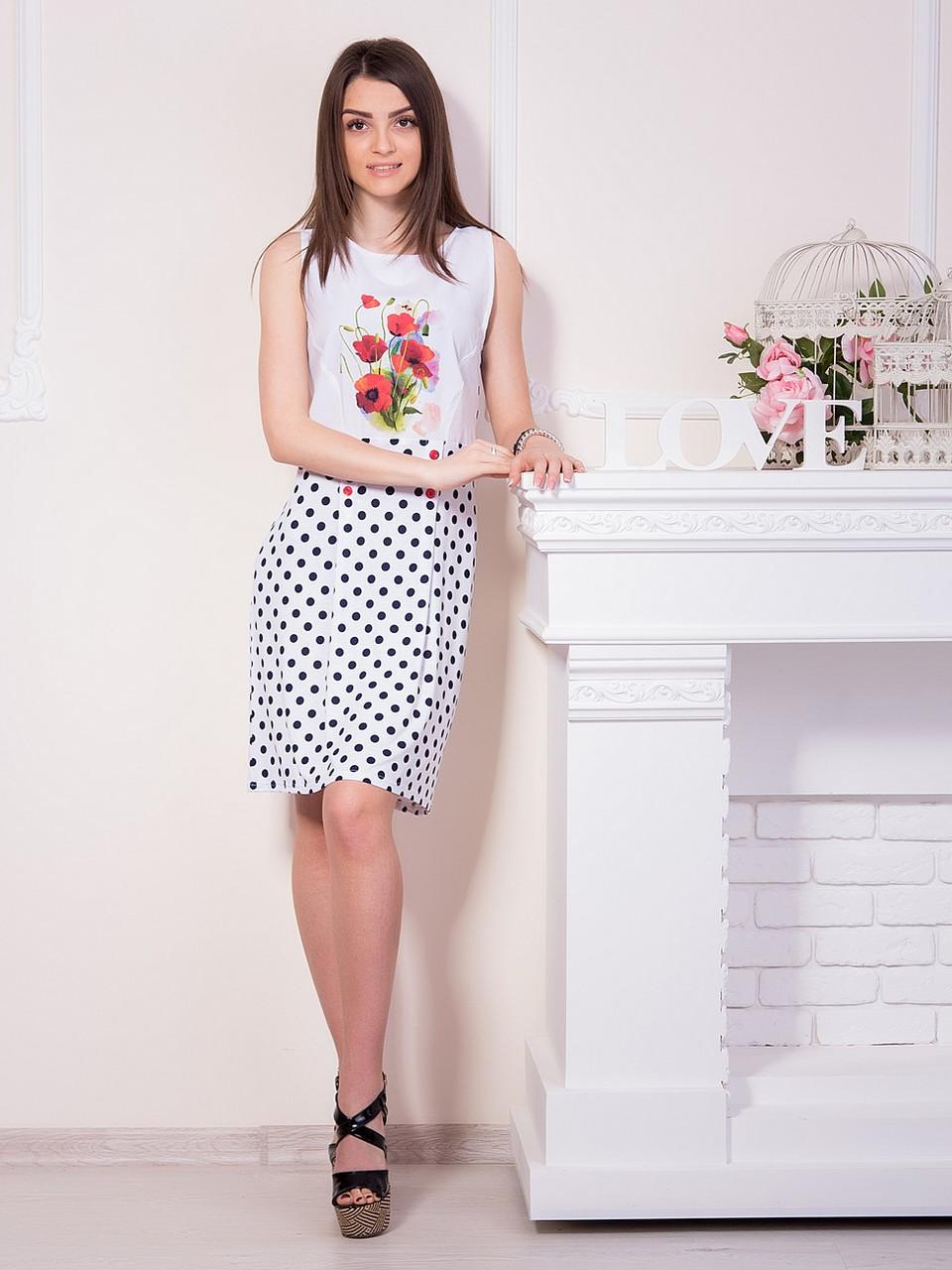 703d6855109 Летнее платье с маками в горошек - оптово - розничный интернет - магазин
