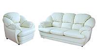 Мягкий диван с креслом в коже Аляска (3р+1)