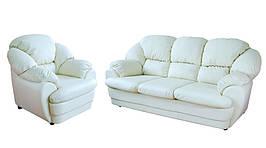 Мягкий диван с креслом в коже Идэн (3р+1)