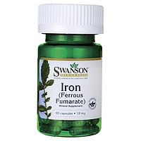 Железо Фумарат, Iron Ferrous Fumarate Swanson, 18 мг, 60 капсул