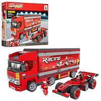 Конструктор AUSINI 26703  гонки, машинка, трейлер, фигурки, 570дет, в кор-ке, 41-31-6 см