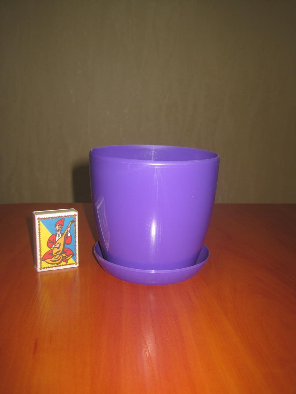"""Вазон цветочный """"Матильда"""" с подставкой V=0,8л (d=11см h=10,5см) фиолетовый"""