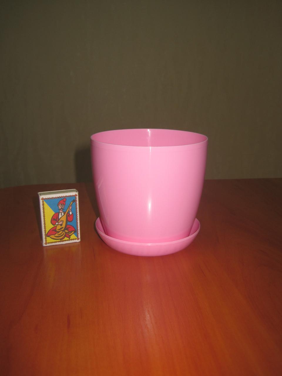 """Вазон цветочный """"Матильда"""" с подставкой V=0,8л (d=11см h=10,5см) розовый"""