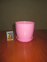 """Вазон цветочный """"Матильда"""" с подставкой V=0,8л (d=11см h=10,5см) розовый, фото 1"""