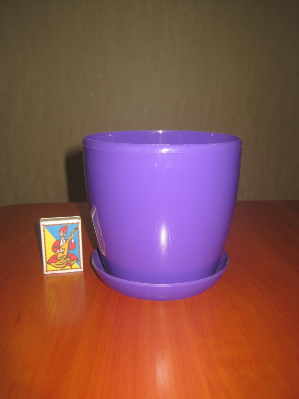 """Вазон цветочный """"Матильда"""" с подставкой V=1,4л (d=14см h=12,5см) фиолетовый, фото 1"""