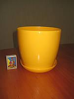 """Вазон цветочный """"Матильда"""" с подставкой V=2,2л (d=16см h=14,5см) темно-желтый, фото 1"""