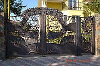 Эксклюзивные кованые ворота с калиткой, код: 01079, фото 1