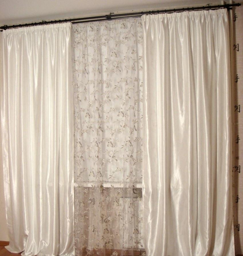Шторы портьерные Шанзелизе Белые (2 шторы)