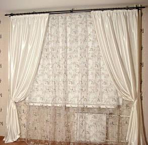 Шторы портьерные Шанзелизе Белые (2 шторы), фото 2