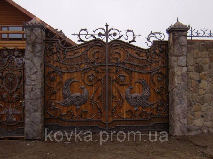 Эксклюзивные кованые ворота с калиткой, код: 01082