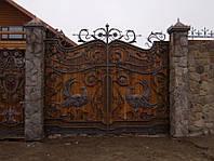 Эксклюзивные кованые ворота с калиткой, код: 01082, фото 1