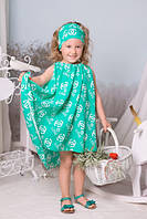 Комплект для девочки Платье и повязка ментоловый