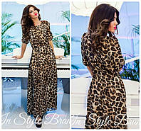 Платье макси с принтом леопард 766 (1413)