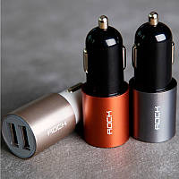 Автомобильное зарядное устройство на 2 USB Rock Motor Car Charger 5V / 2.1A, разные цвета, оригинал